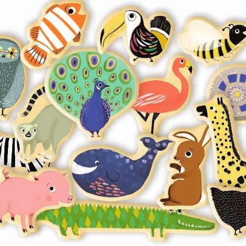 Divoká i domácí zvířátka dřevěné magnetky