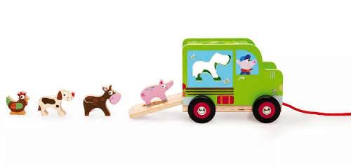 Dřevěné auto farma s vkládačkou