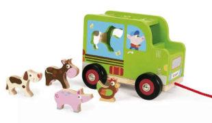 Dřevěný náklaďák se zvířátky pro nejmenší