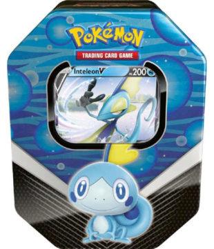 Modrá plechová krabička s boostery Pokémon TCG Galar Partners Tin