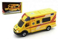 Žlutá dětská sanitka na setrvačník