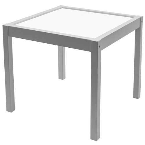 Čtvercový šedý dřevěný dětský stůl