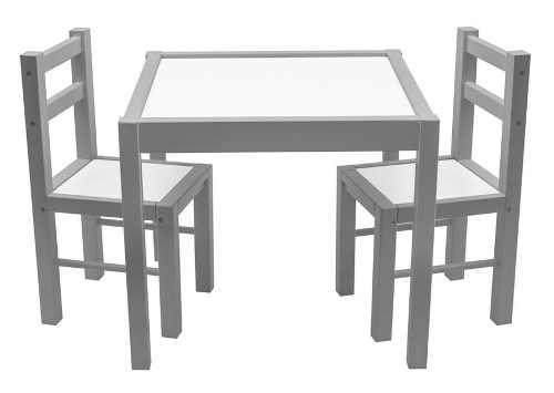 Dětská dřevěná sada šedý stoleček a dvě židličky