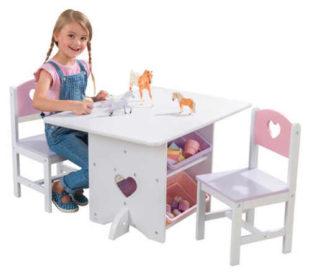 Holčičí stůl s židličkami a úložnými boxy KidKraft Heart