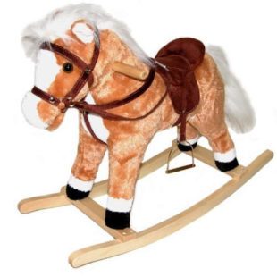 Řehtající houpací koník s hýbajícím ocasem
