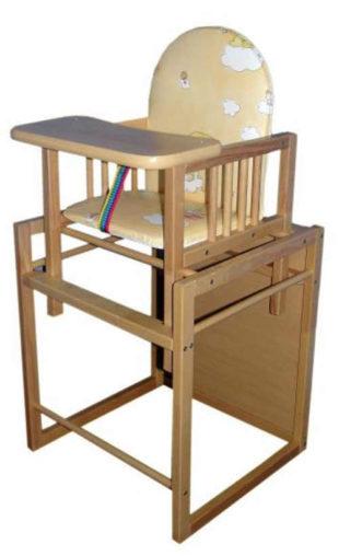 Rozkládací dřevěná dětská jídelní židlička Buk