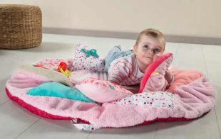 Růžová kulatá dětská hrací dečka