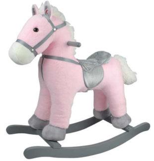 Růžový houpací poník vydávající zvuky