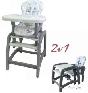 Šedá dětská jídelní židlička rozložitelná na stolík a židli