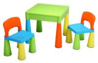 Veselý barevný dětský stoleček se dvěma židličkami