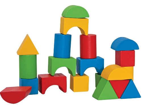 Barevné dřevěné kostky pro děti
