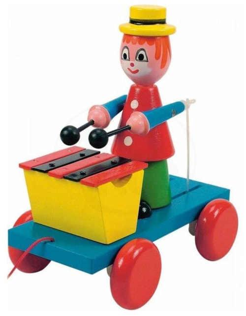 Dětská retro dřevěná hračka tahací klaun s xylofonem