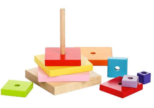 Dřevěná skládačka barevná pyramida čtverce