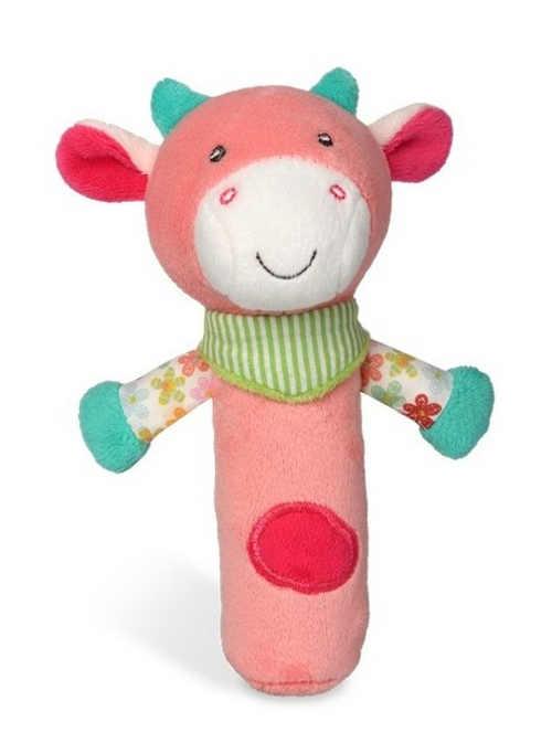 Plyšové pískátko pro nejmenší Růžová kravička