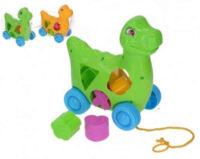 Tahací plastový dinosaurus s vkládačkou