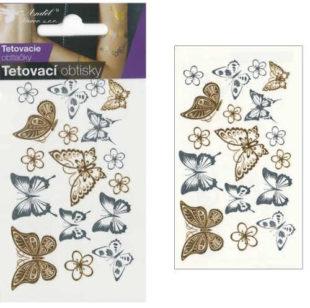 Tetovací obtisky zlatí a stříbrní motýli