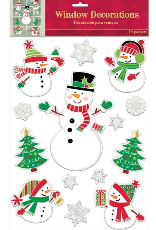 Vánoční dekorace na okno nalepovací sněhuláci