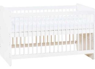 Bílá dětská postýlka 140 x 70 cm s odnímatelnou zábranou