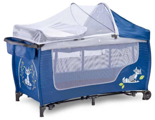 Luxusní modrá cestovní postýlka s přebalovacím pultem