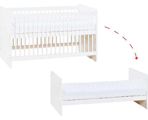 Postýlku lze předělat na klasickou dětskou postel bez zábran