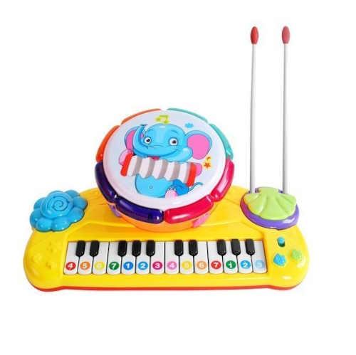 Dětský klavír s bubnem a paličkami